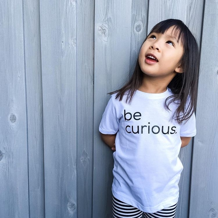 "Monochrome Kids Fashion | Black and White Kids Fashion | ""Be Curious"" Kids T-shirt 