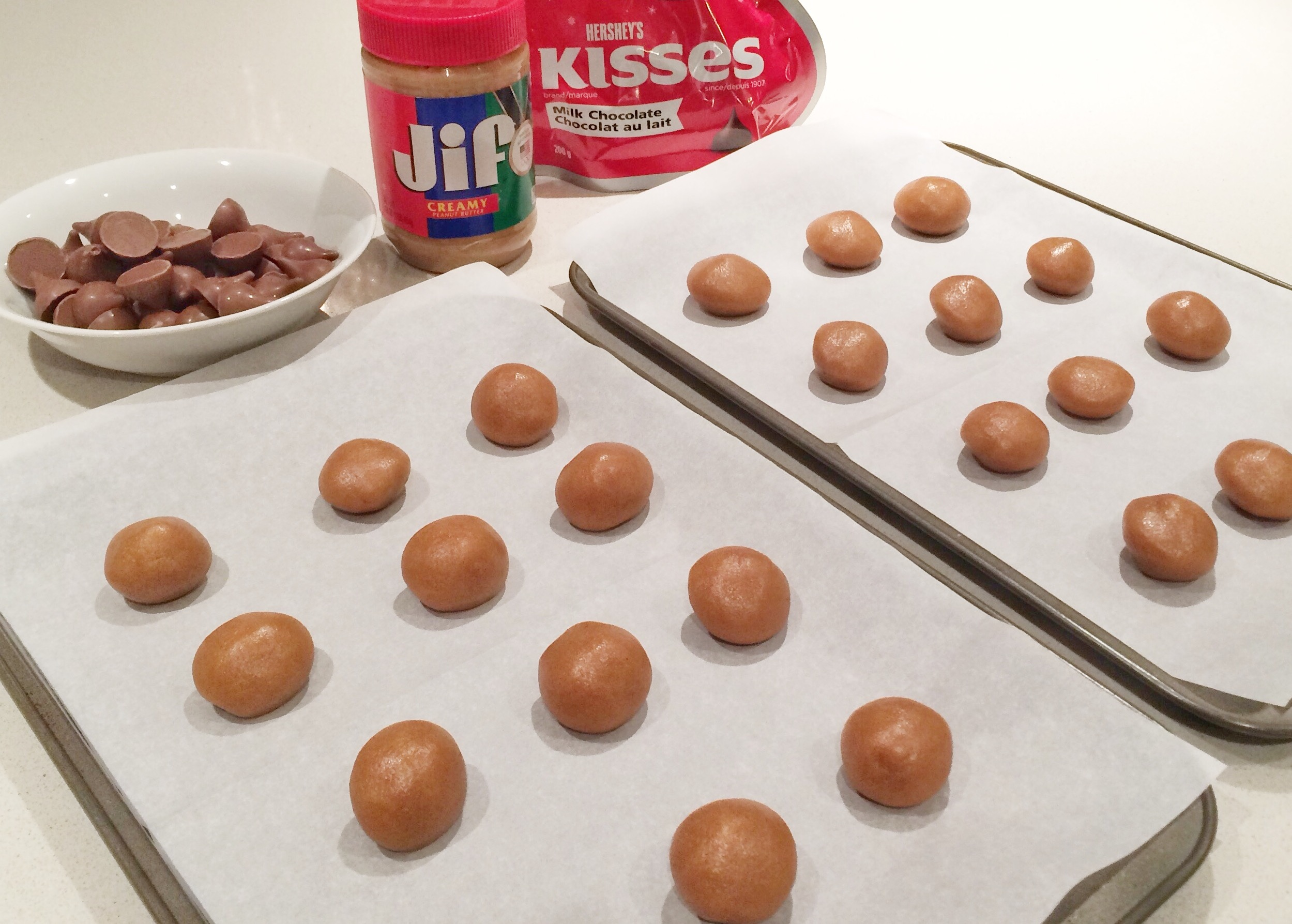4 Ingredient Chocolate Kiss and Peanut Butter Cookie