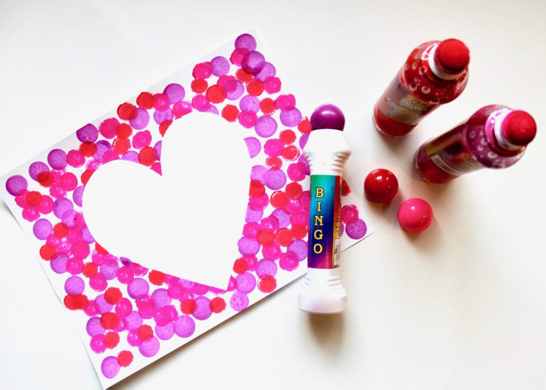 Easy Valentine Craft for Kids | Heart Craft | Pink Craft Ideas | Valentine Activity for Kids | Bingo Dauber Craft