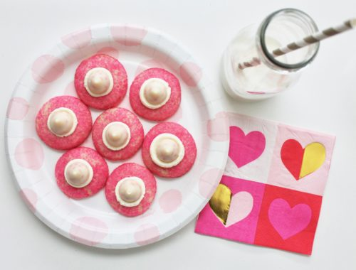 Valentine Recipes | Pink Cookie Recipe | Kiss Cookie Recipe | Cookies and Milk