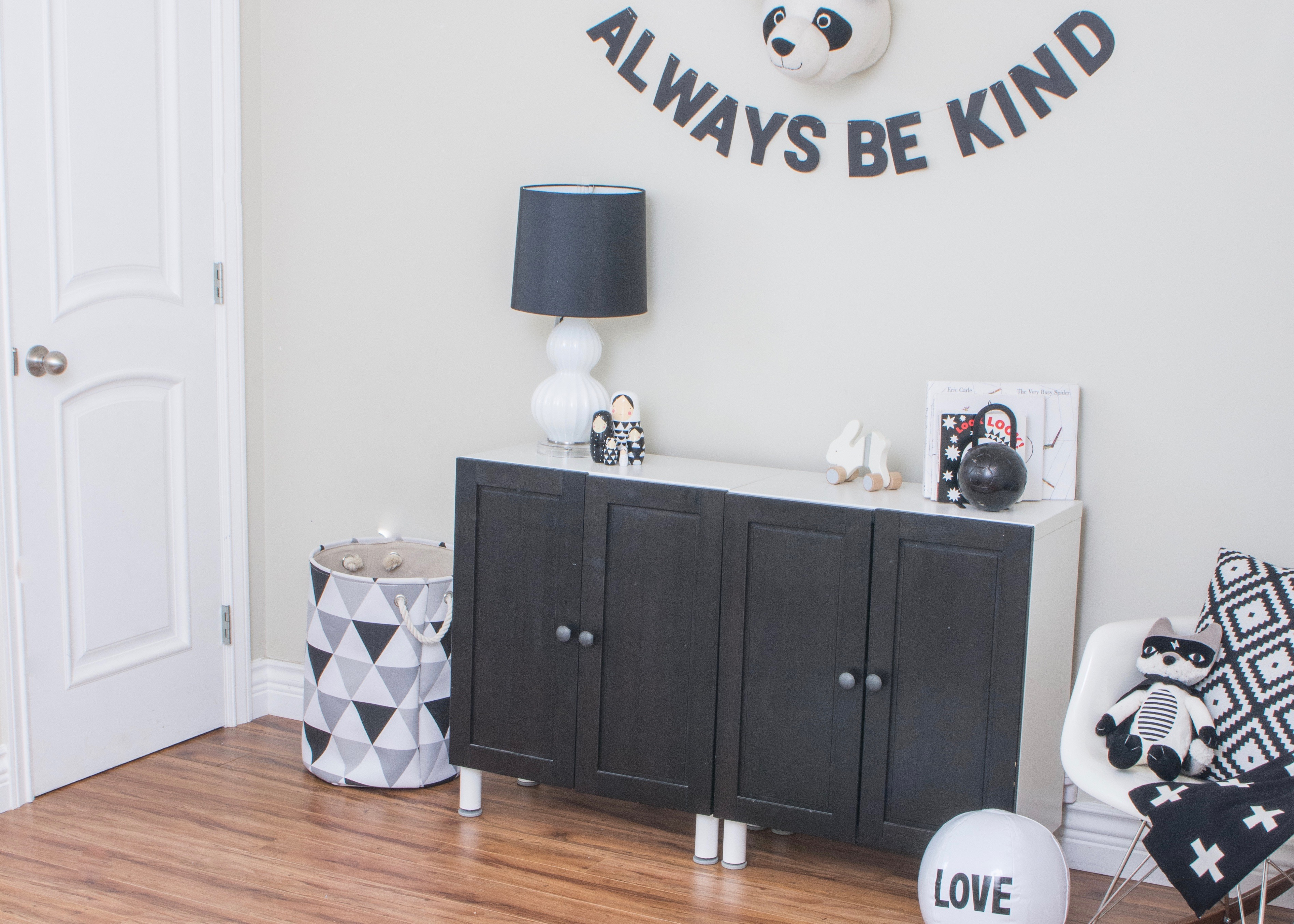 Monochrome Kid's Playroom and Gallery Wall