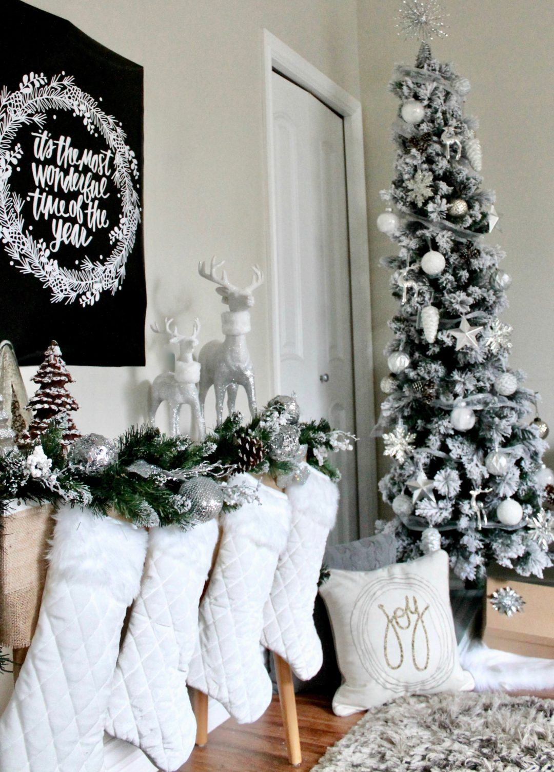 Christmas Decor | Cream and Silver Christmas Decorations | Flocked Christmas Tree