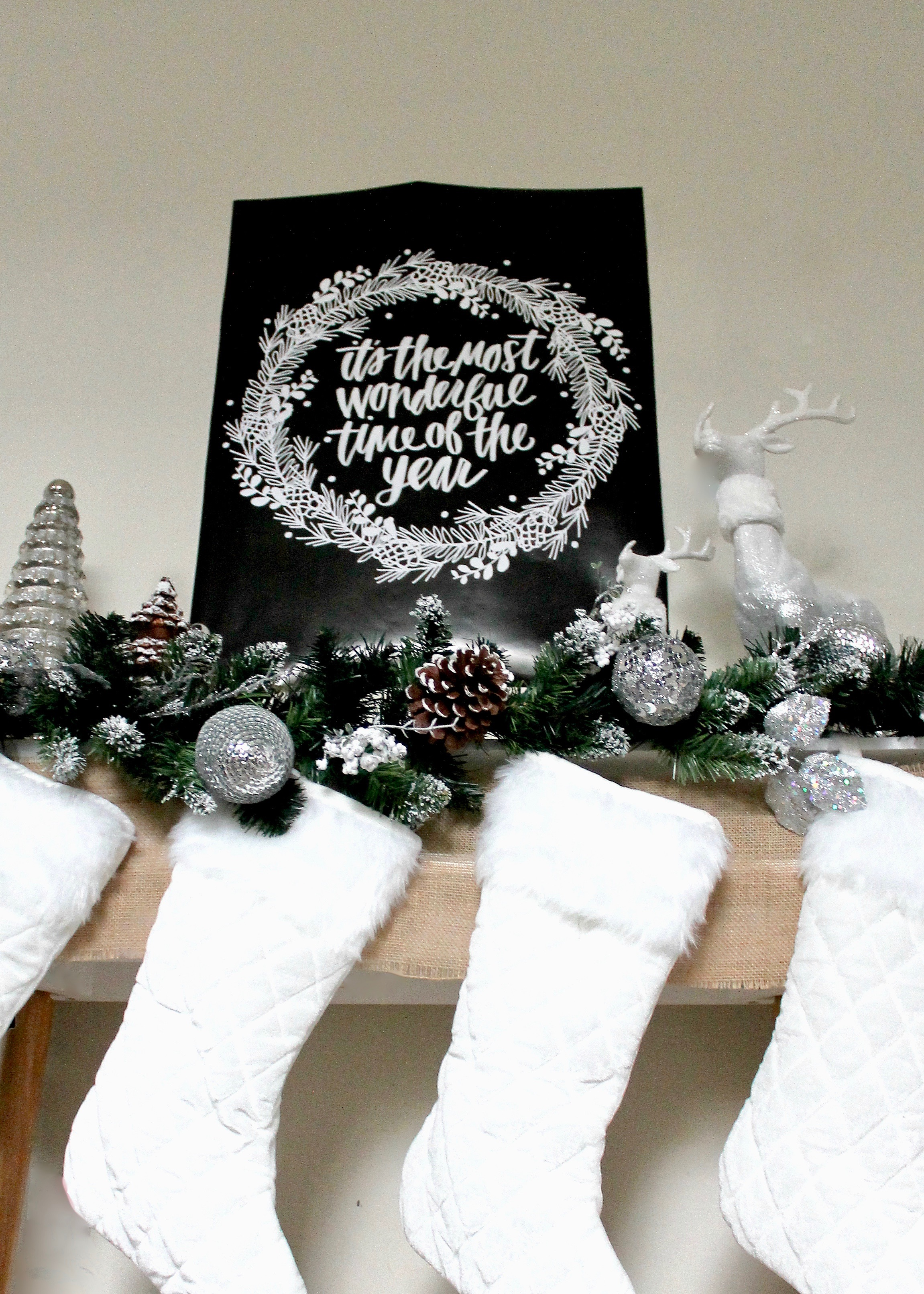 Christmas Decor | Cream and Silver Christmas Decorations | Christmas Mantel Decor | Flocked Christmas Garland