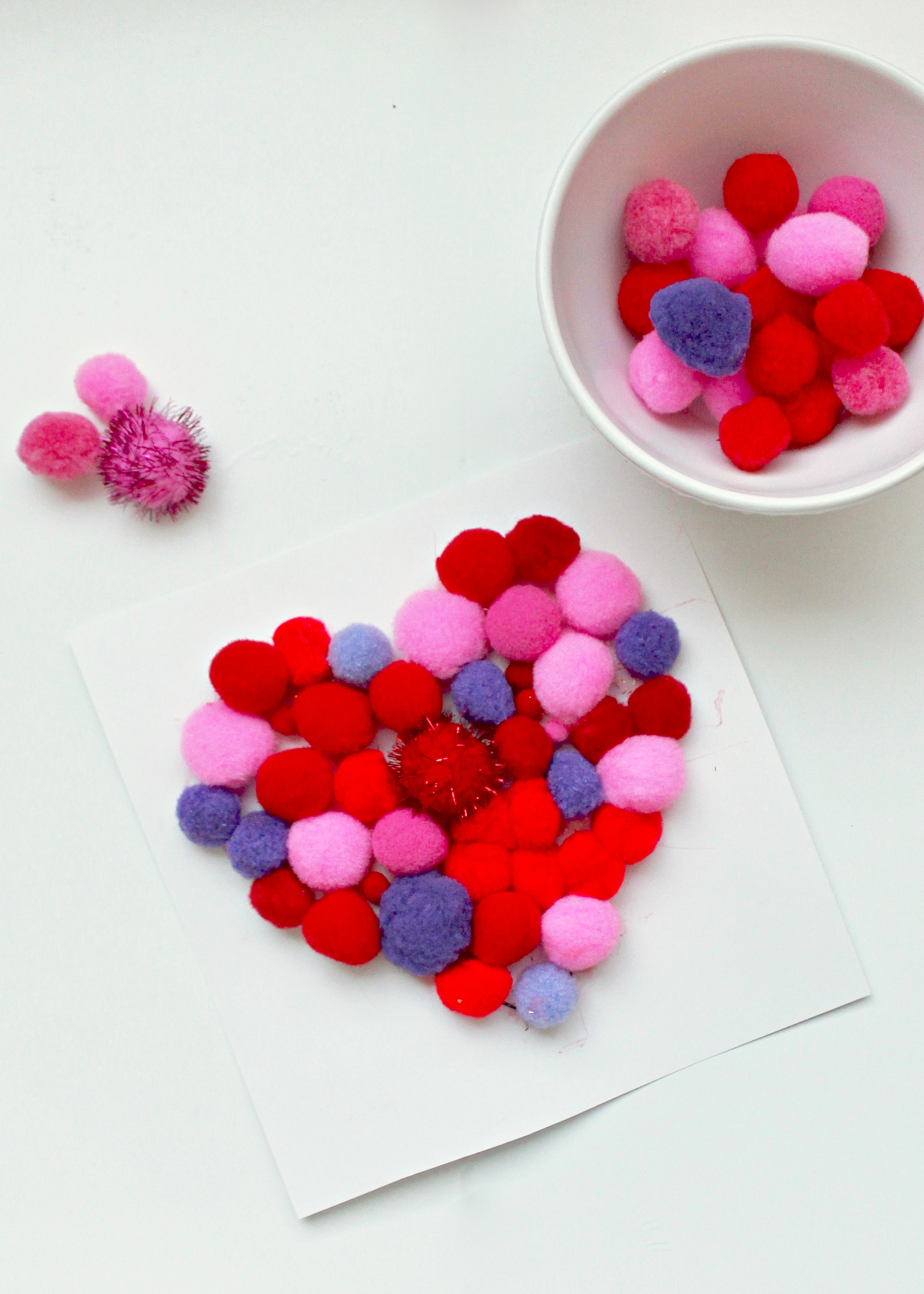 DIY Heart Crafts | Valentines Day Activities for Kids | Valentines Day Crafts | Mix Media Art for Kids | Children's Arts and Crafts | Toddler Art Activity | Activities with Pom Poms